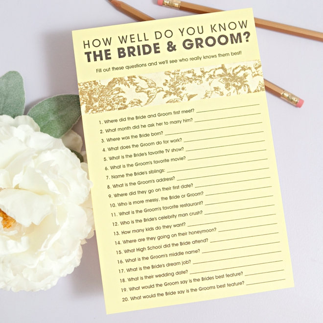 Free How Well Do You Know The Bride Amp Groom Game