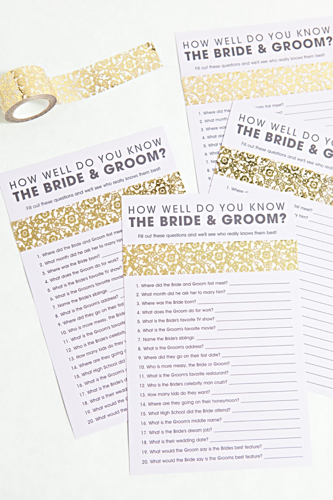 photograph relating to Free Printable Bridal Shower Games How Well Do You Know the Bride known as Totally free How Perfectly Do Your self Understand The Bride Groom Video game!