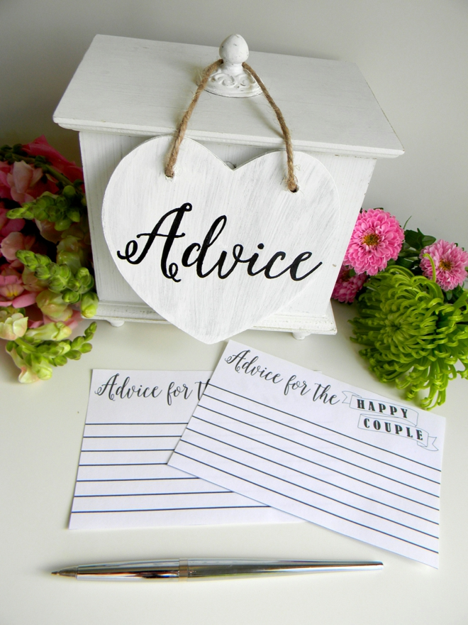 It is a picture of Gorgeous Free Printable Bridal Shower Advice Cards