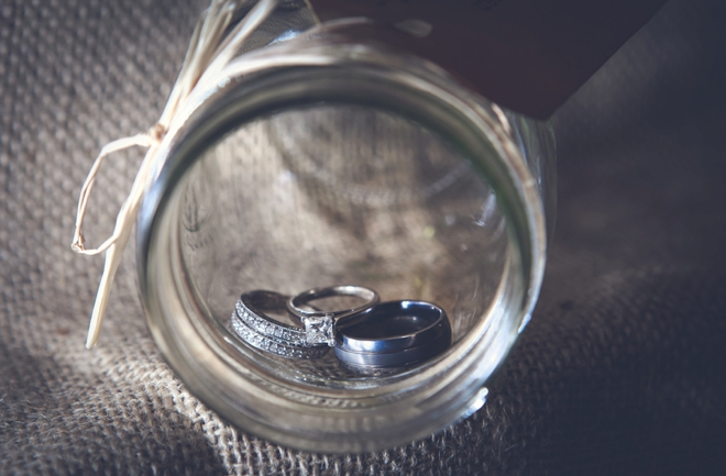 Wedding Rings Shot in a Mason Jar
