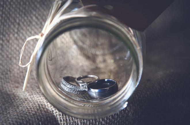 Wedding Rings Shot in a Mason Jar