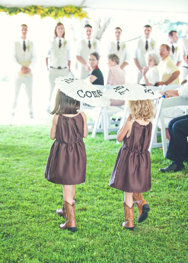 Flower girls with parasols