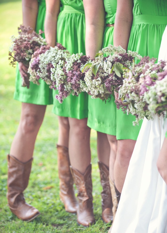 Darling green bridesmaids with handpicked bouquets!