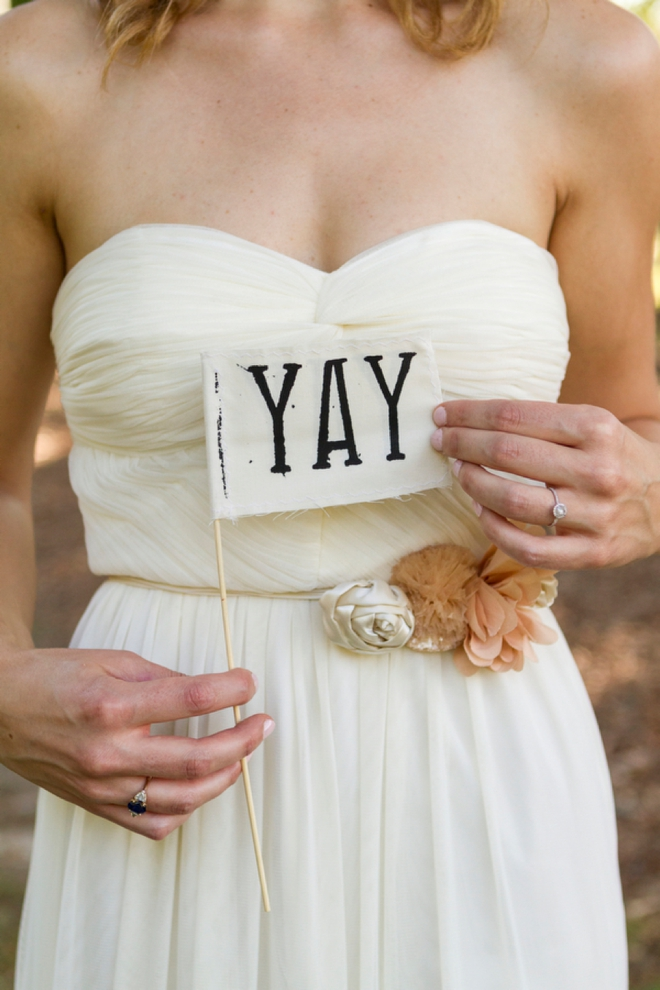 "Adorable ""yay"" wedding flag"