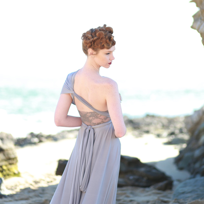 Gorgeous grey convertible wrap dress from Coralie Beatrix