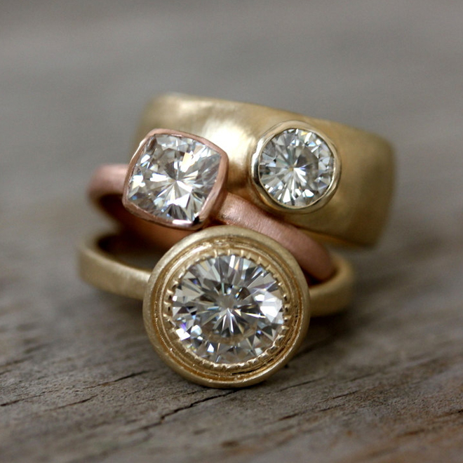 Stunning Moissanite engagement rings from One Garnet Girl