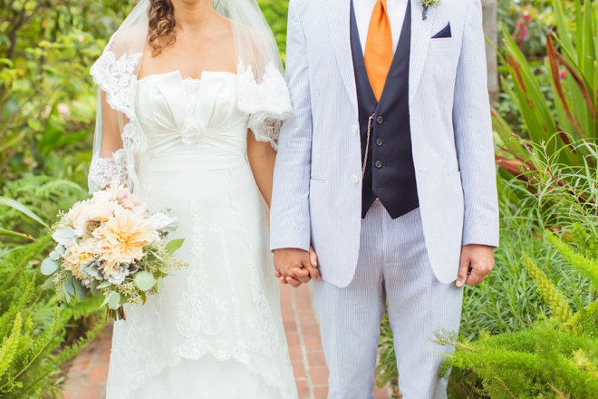 Bright orange and turquoise boho-beach wedding!
