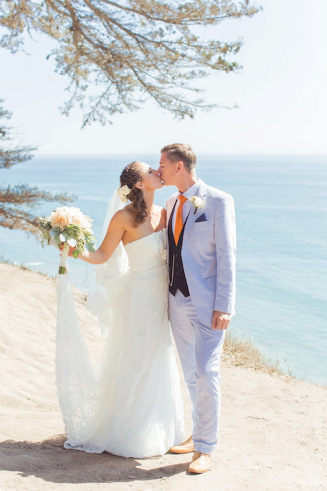 Bright orange and turquoise boho-beach wedding!