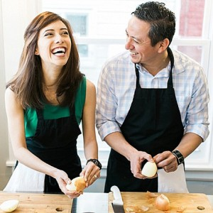 Adorable engagement shoot during a private cooking class!