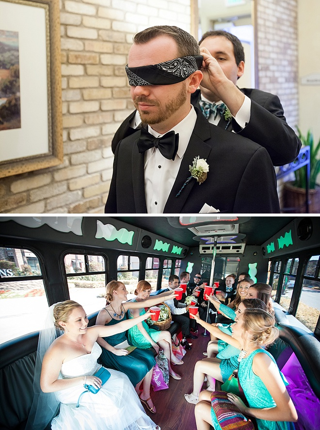 Groom's blind ride to the ceremony
