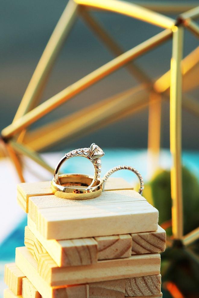 Wedding ring shots on jenga blocks