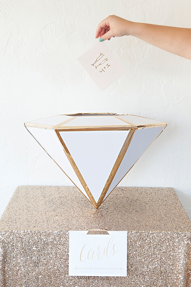Learn how to make this giant, DIY Wedding Card Box Diamond!