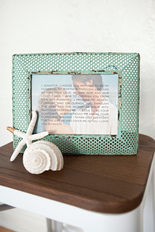 Check out this DIY idea on how to frame your wedding vows!