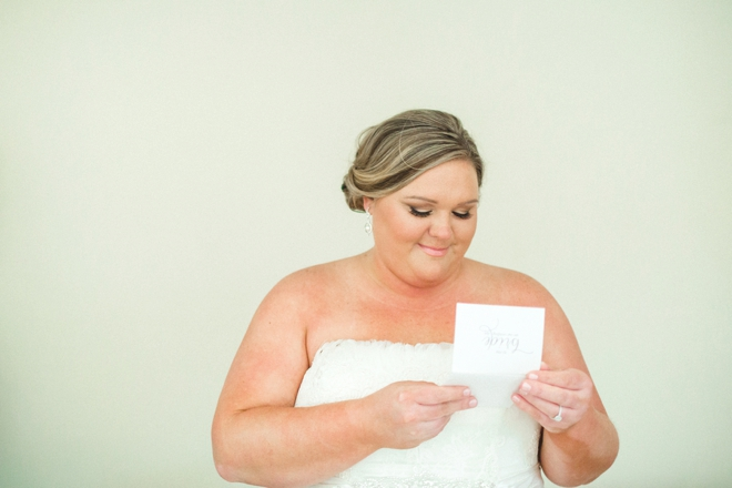 Bride reading special card