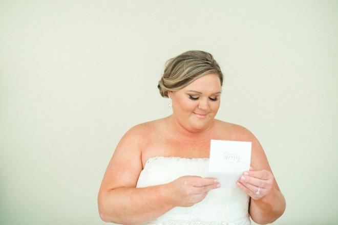 Bride reading special card