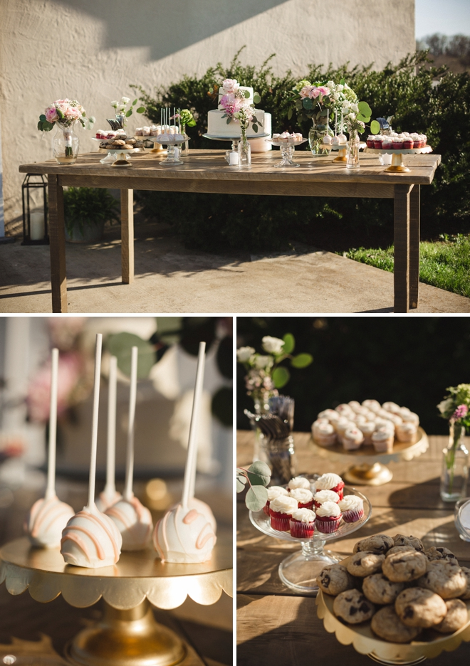 Rustic wedding sweets table