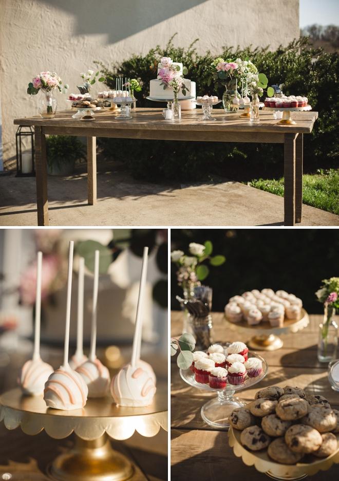 Rustic wedding sweets table