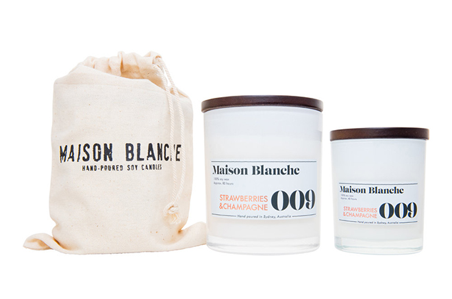 Strawberries and Champagne candle from Maison Blanche