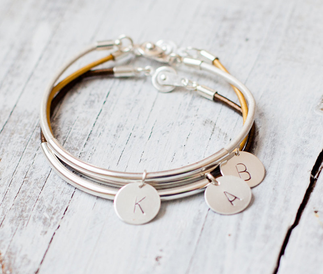 Leather Initial Bracelets from Folirin