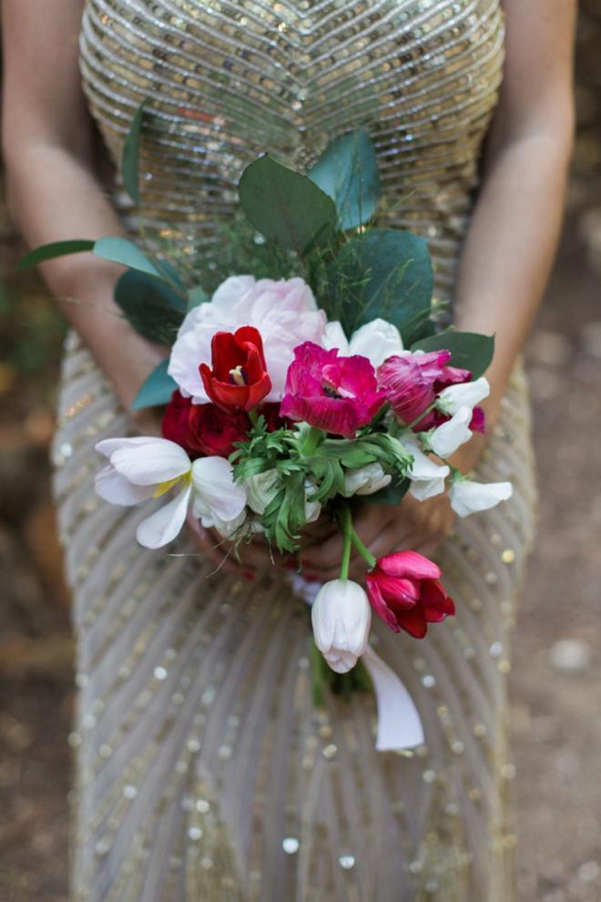 Sequin bridesmaids dress + DIY bouquet!