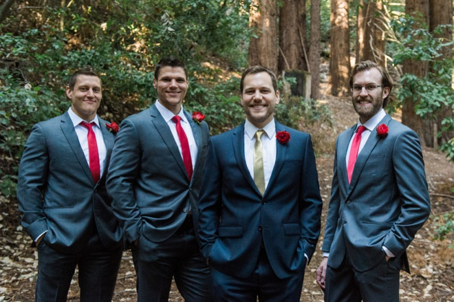Navy suits and red ties - groom style.