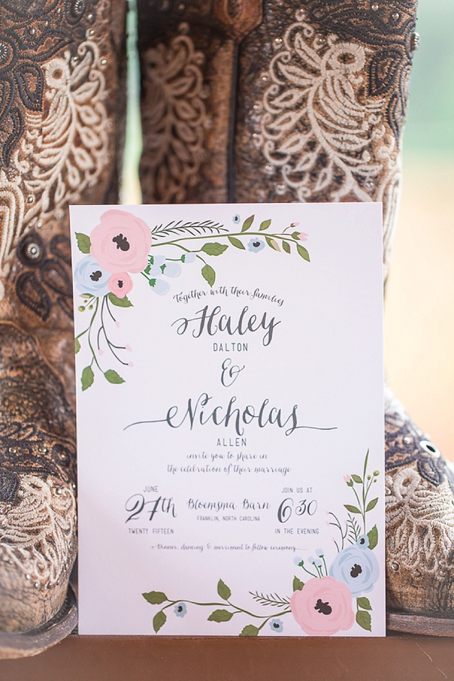 Wedding invitation + cowboy boots