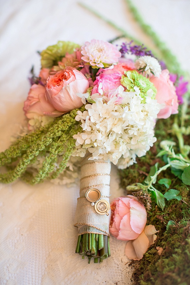 DIY wedding bouquet with keepsake locket