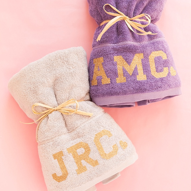 Beach Towel Hashtags: Check Out These DIY Glitter Iron-On Bachelorette Party Towels