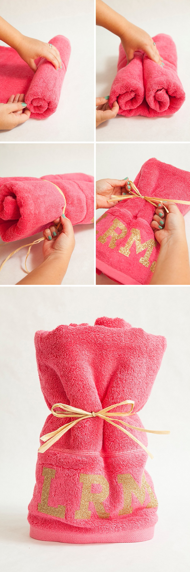 Check out these DIY Glitter Iron-On Bachelorette Party Towels!