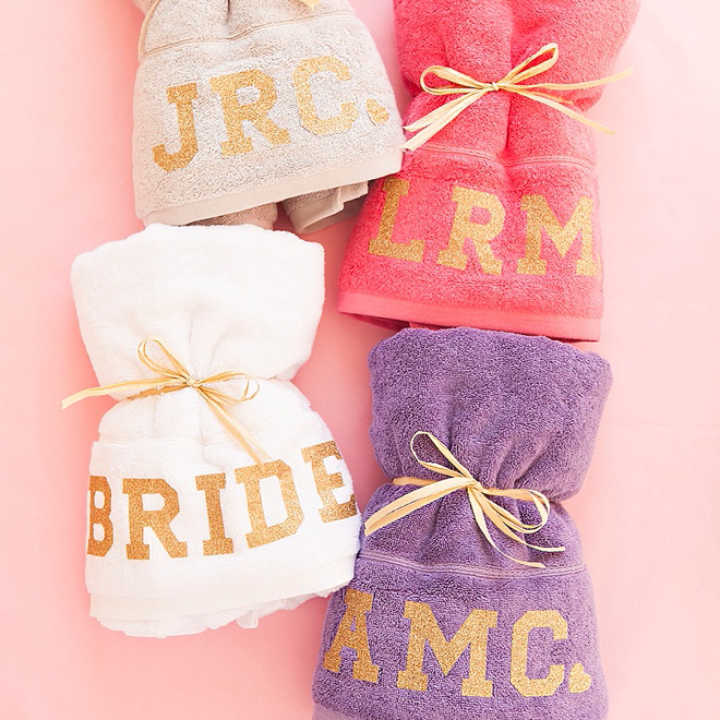 Check Out These Diy Glitter Iron On Bachelorette Party Towels