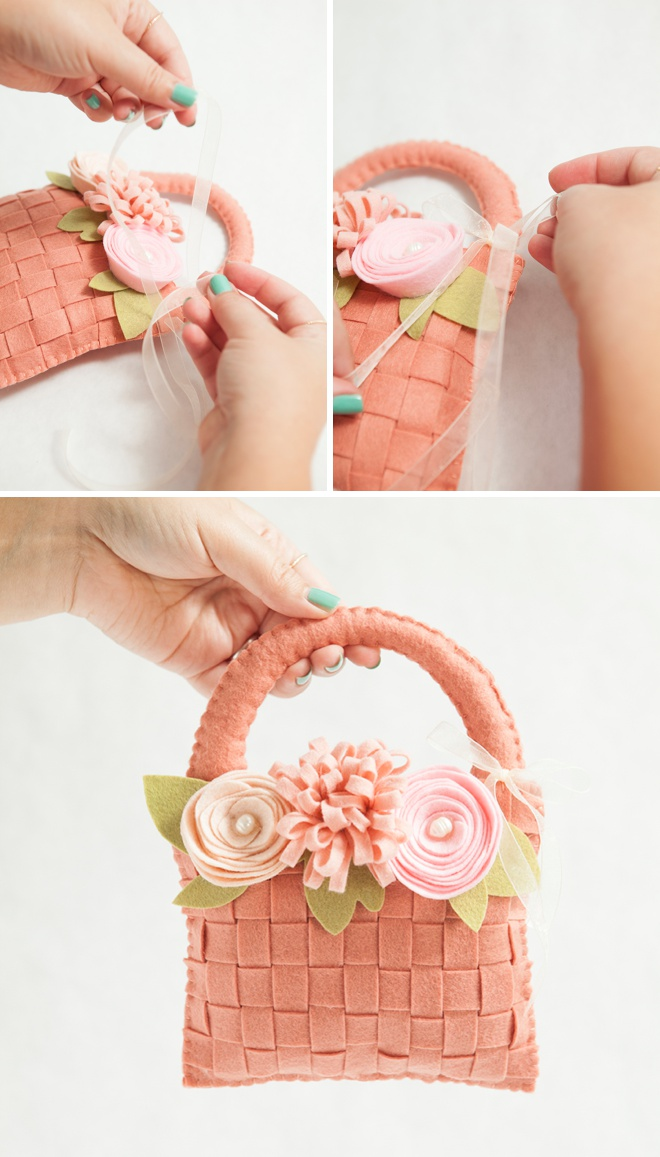 How To Make A Basket For Flower Girl : Learn how to make the most adorable felt flower girl basket