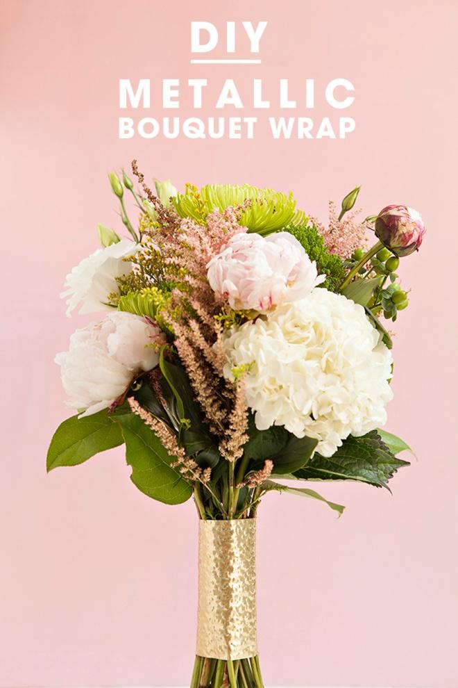 Awesome, DIY metallic wedding bouquet wraps!