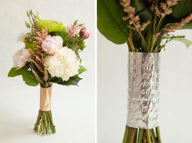Awesome, DIY metallic wedding bouquet wraps!
