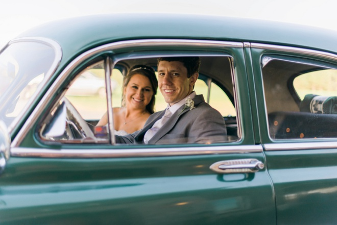 Bridal portrait in an old car!