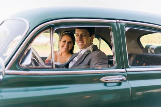 Bridal portrait in an old car!