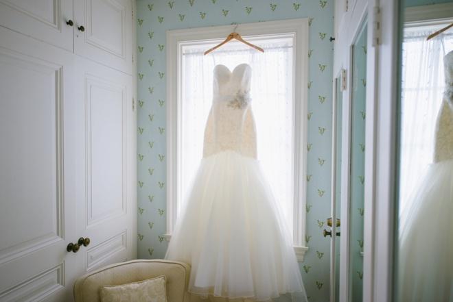 Wedding dress hanging before the wedding