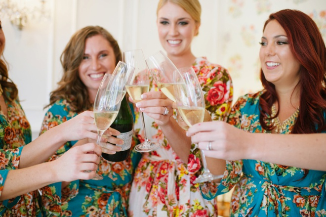 Cheers with the bridesmaids!