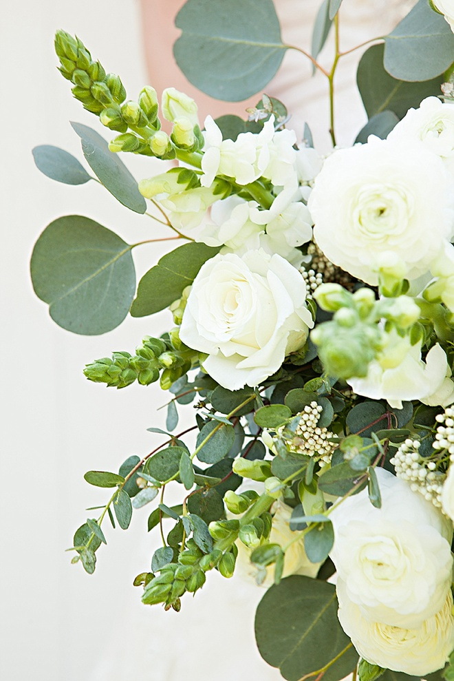 Gorgeous DIY eucalyptus and ranunculus wedding bouquet