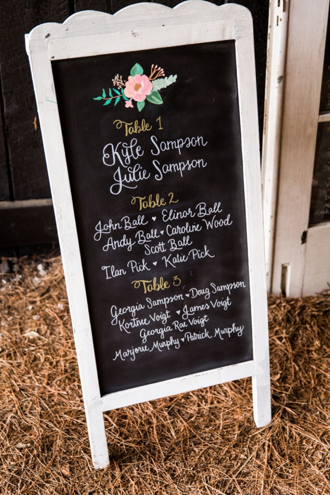 Hand-lettered seating chart signs