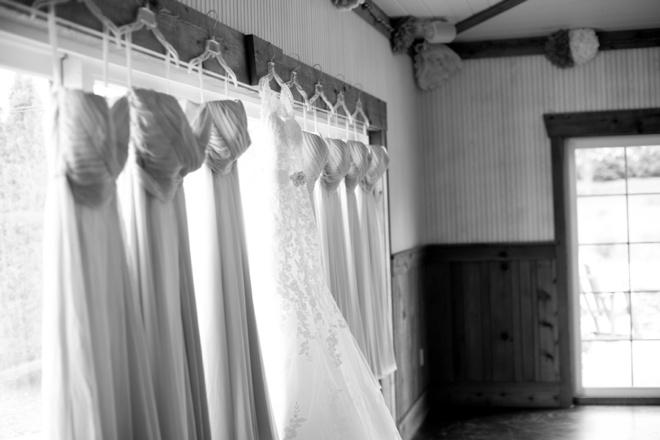 Dresses hanging.
