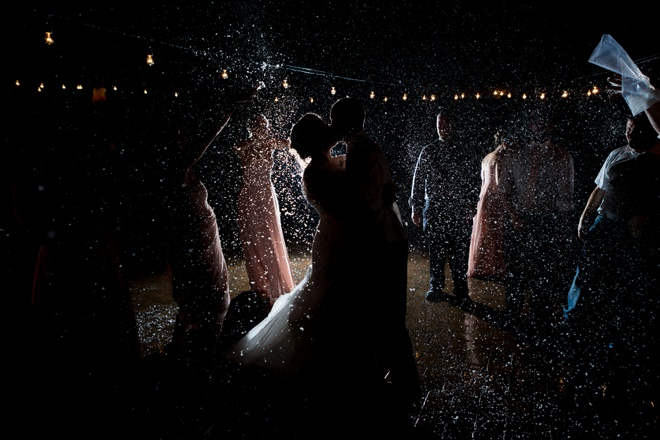Wedding confetti toss at night!