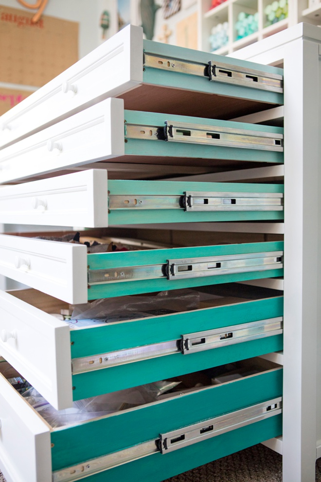 Paint the inside of dresser drawers ombre turquoise for a fun and colorful added touch!