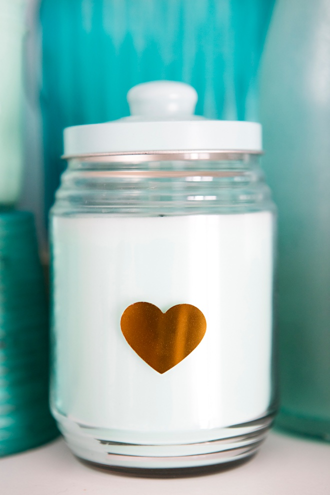 Turquoise candle with metallic gold heart