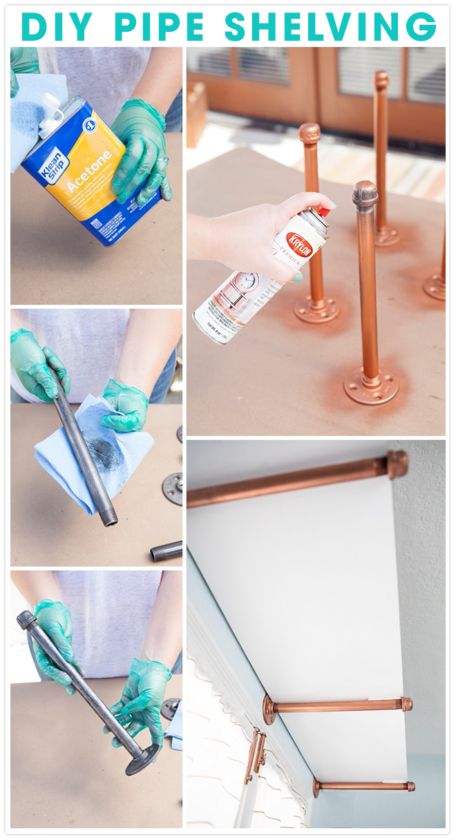 DIY Gas Pipe Shelving - painted copper!