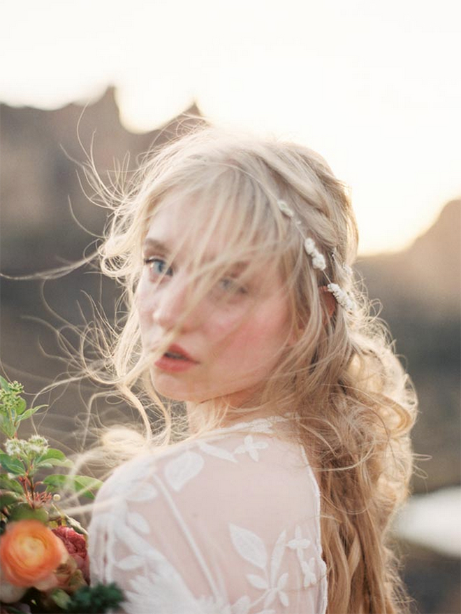 Wind-blown beach wedding hair