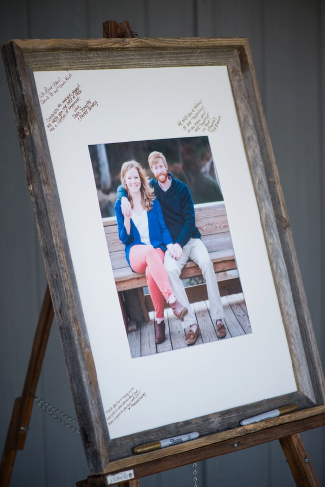 Rustic framed engagement print guest book