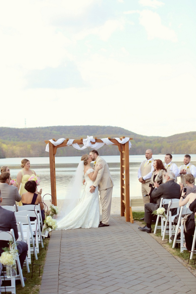 Super sweet, pink and yellow DIY lakeside wedding!
