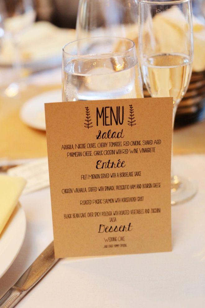 DIY wedding menus!