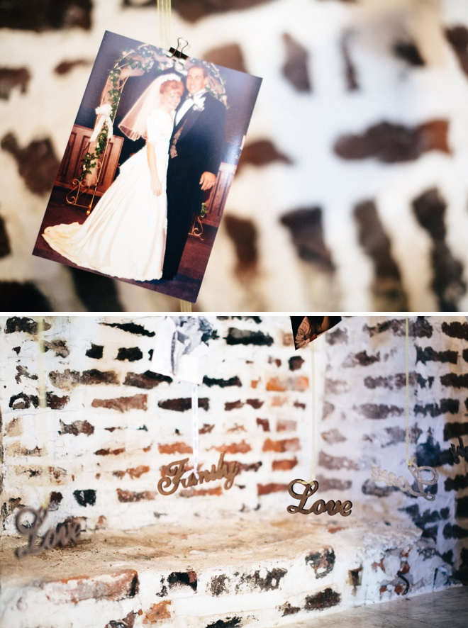Awesome photo wall of marriages that inspired the couple!