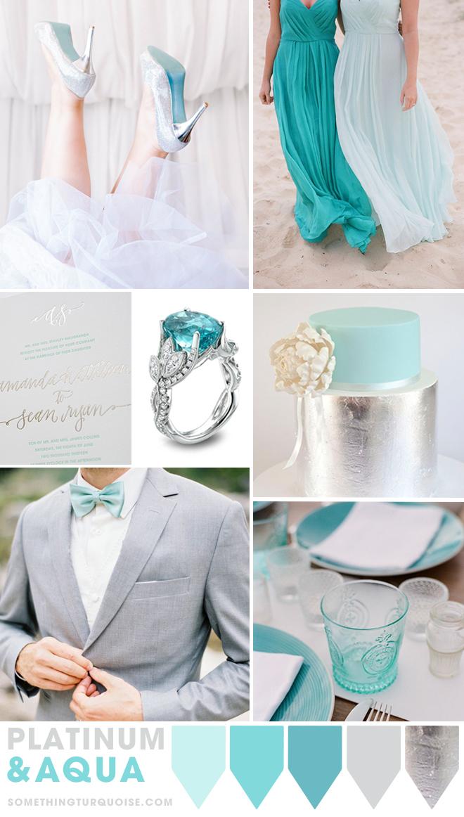 Platinum and Aqua wedding theme ideas